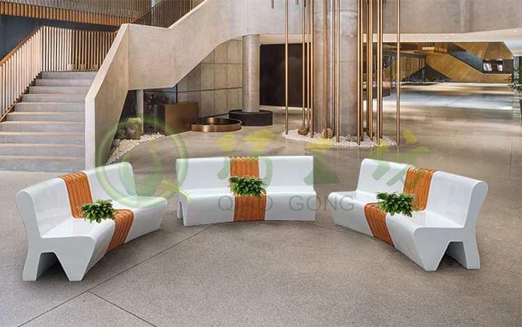 弧形玻璃钢靠背坐凳创意商场美陈花盆休闲椅
