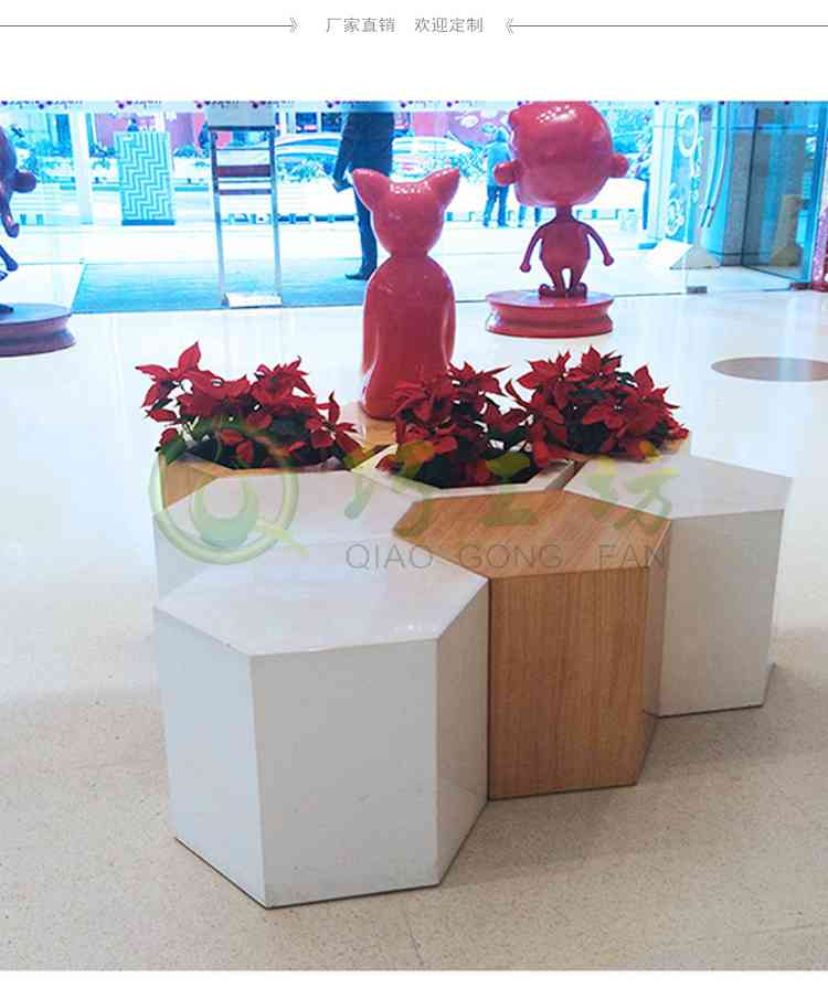 六边形玻璃钢坐凳猫咪雕塑组合商场休息椅