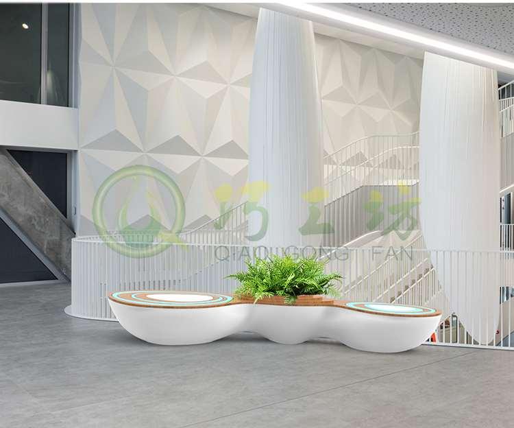 水波纹玻璃钢座椅创意花盆异形组合美陈休闲坐凳