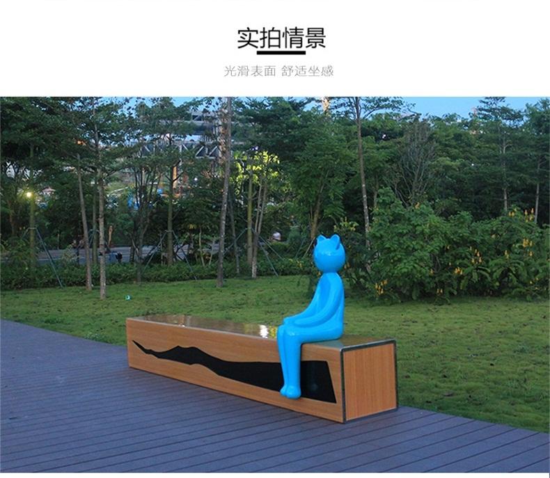 玻璃钢休闲椅商场小猫座椅户外园林景观坐凳