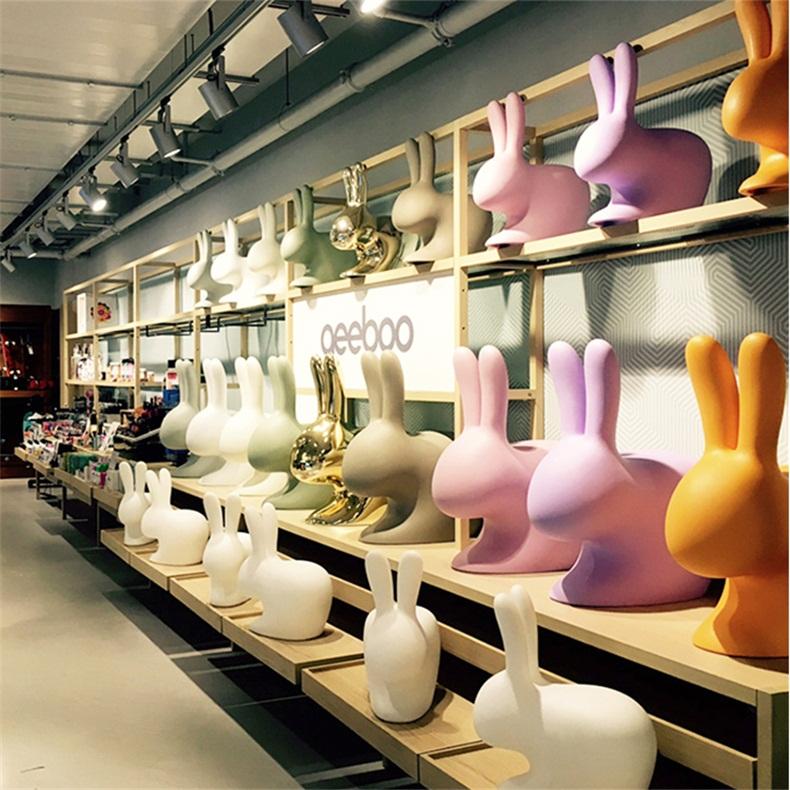 玻璃钢儿童趣味兔子卡通动物坐凳幼儿园茶几组合