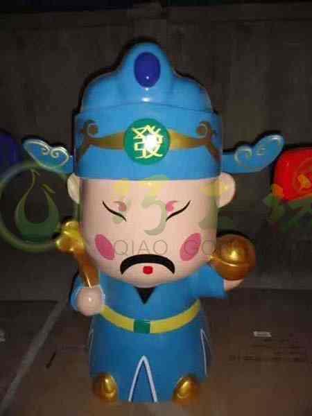 卡通财神人物雕塑玻璃钢商场招财摆件