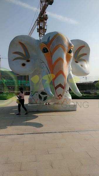玻璃钢大象雕塑户外大型动物摆件售楼部广场公园林迎宾装饰品
