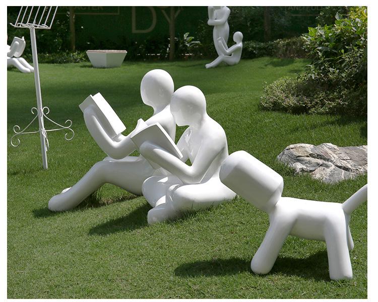 玻璃钢读书小人学校广场雕塑