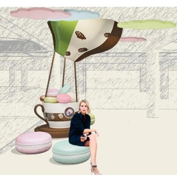 马卡龙玻璃钢座椅面包商场艺术坐凳