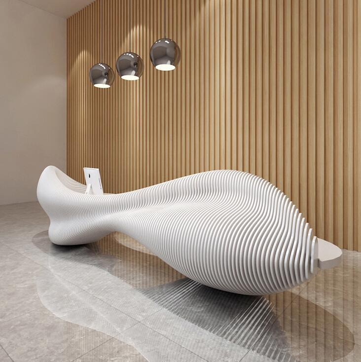 玻璃钢创意异形前台桌服务台吧台