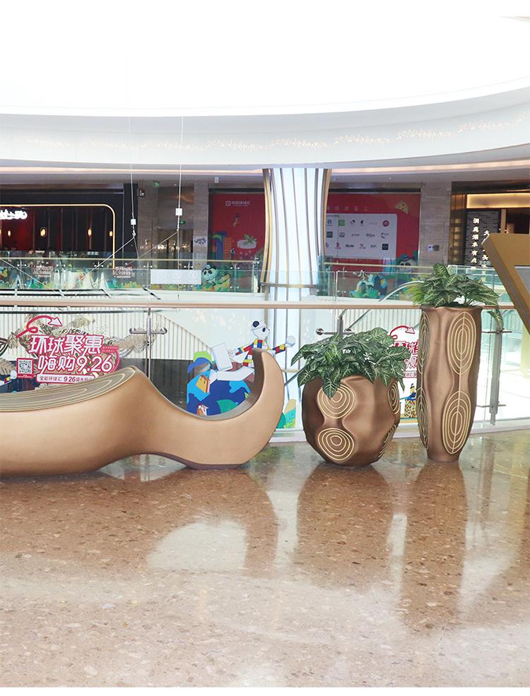玻璃钢酒店售楼处落地花瓶园林景观装饰花箱