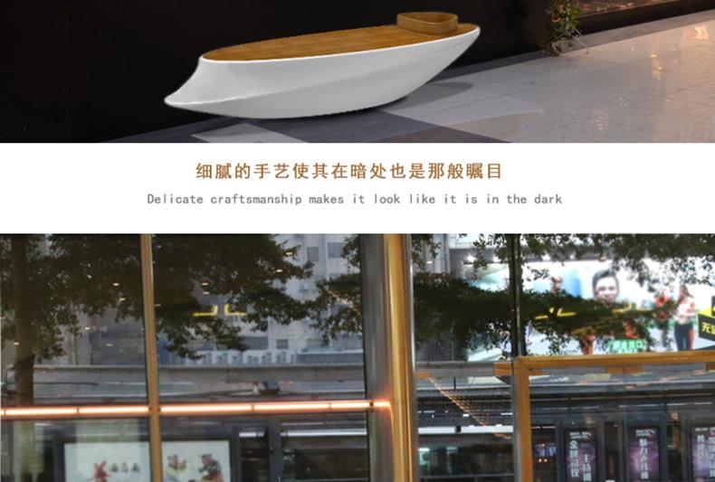 玻璃钢美陈花盆坐凳公共休息防木纹长椅船形椅子