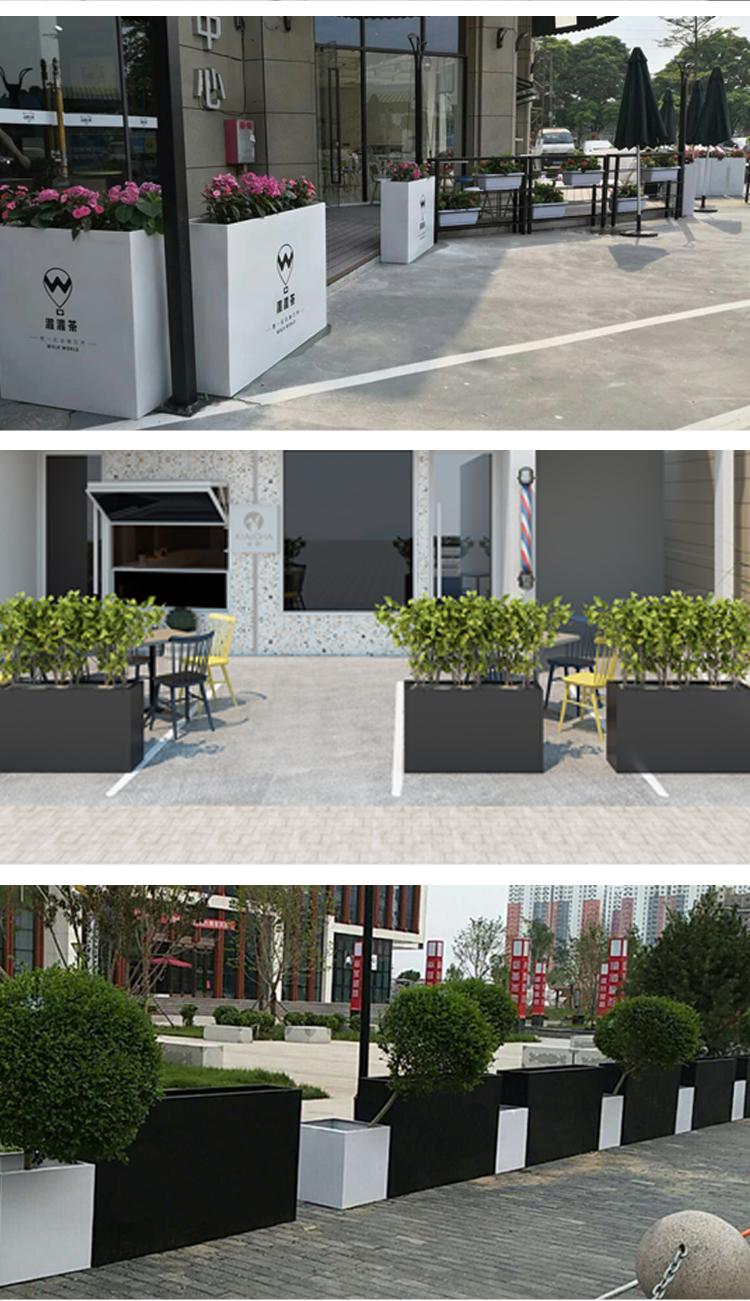 创意玻璃钢花盆大号花器隔断花槽花钵长方形花箱