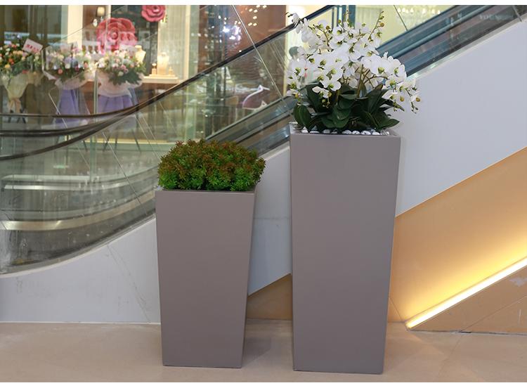 四方形玻璃钢酒店花盆别墅庭院长方形高身花器