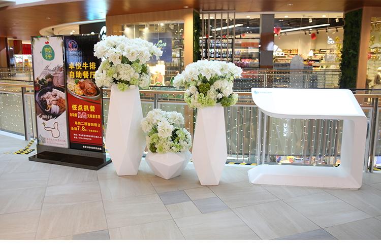 北欧菱形落地大花瓶切面玻璃钢花盆