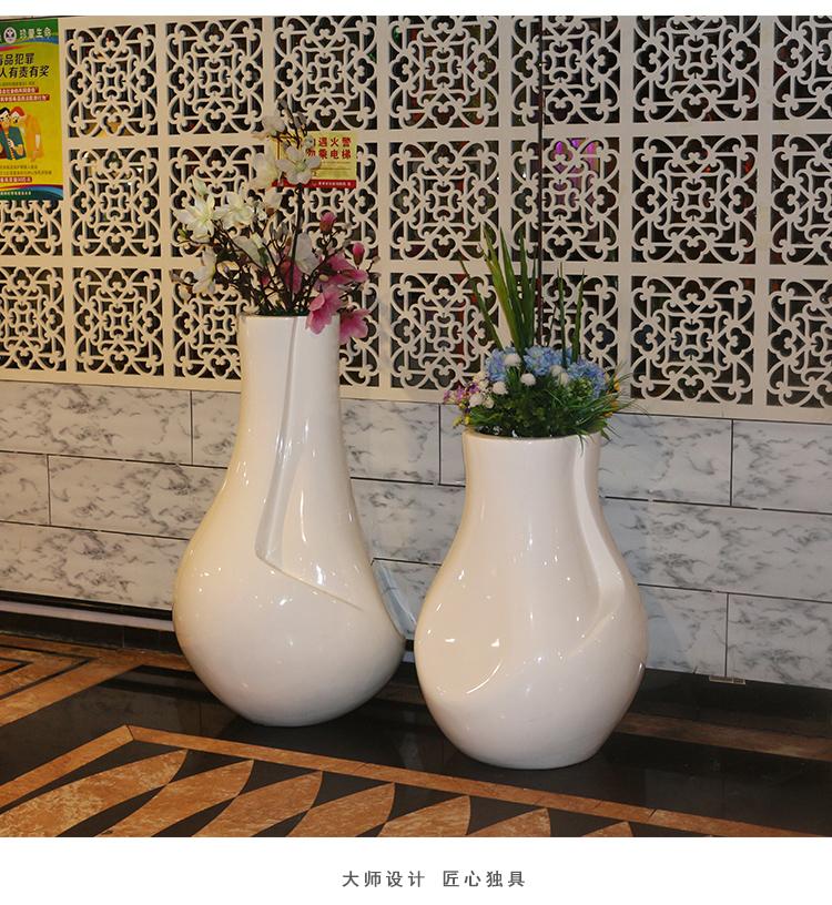 玻璃钢花盆组合商场酒店展厅圆形大花瓶