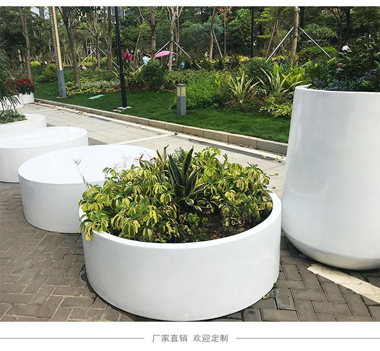 玻璃钢花盆圆形组合商业街梯形白色大号种树花钵异形花箱