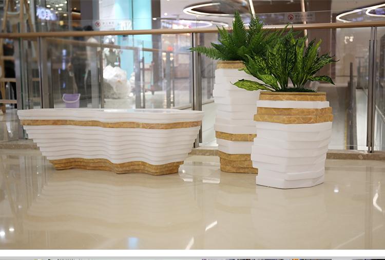 玻璃钢阶梯花盆商场美陈异形花器组合